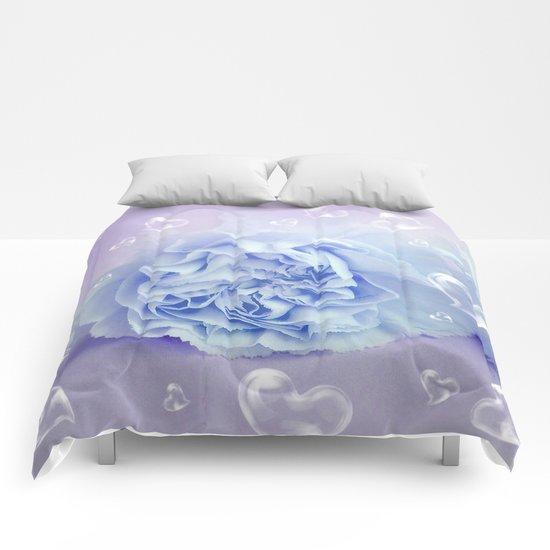 Heart Bubbles on delicate blossom 2 Comforters