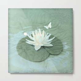 Zen Lotus and Butterfly Metal Print
