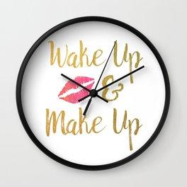 Wake Up & Make Up Faux Gold Foil Watercolour Motivational Art Wall Clock