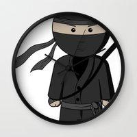 ninja Wall Clocks featuring Ninja by Shyam13