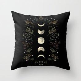 Moonlight Garden - Olive Green Throw Pillow