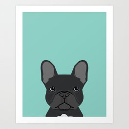 French Bulldog black coat color dog lover pet friendly dog breed pet portraits Art Print