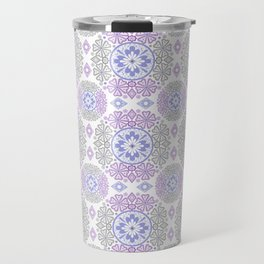 Delicate lace lilac and grey pattern . Travel Mug