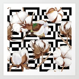 Cotton Flower Pattern 09 Art Print