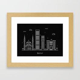 Bairut Minimal Skyline Drawing Framed Art Print