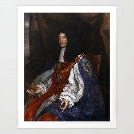 Charles II in Garter Robes - John Michael Wright - Circa 1660 Art Print