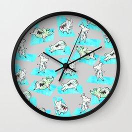 Aqua Yoga Pigs - Downward Facing Hog Wall Clock