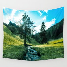 Green fields, trees and a magical brook Wall Tapestry