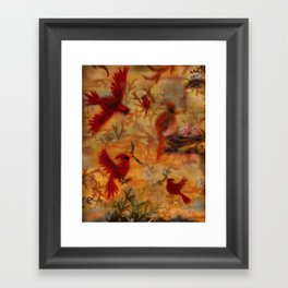 The Cardinal Tree Collage Framed Art Print