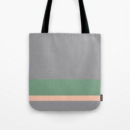 Solid Gray w/ Green and Pastel Orange Divider Lines - Abstract #ArtofGanenK Tote Bag