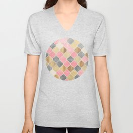 Silver Grey, Soft Pink, Wood & Gold Moroccan Pattern Unisex V-Neck