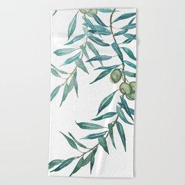 green olive leaf watercolor Beach Towel