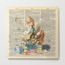Vintage Alice In Wonderland on a Dictionary Page Metal Print
