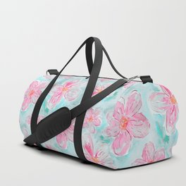 Hand painted teal fuchsia watercolor floral Duffle Bag