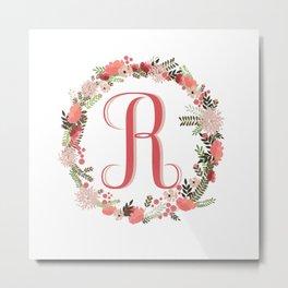 Personal monogram letter 'R' flower wreath Metal Print