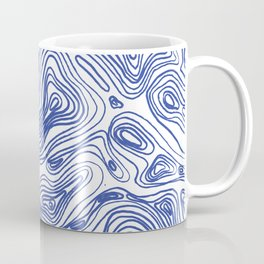 Topographical Lines in Blue Coffee Mug
