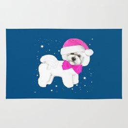 Bichon Frise pink santa hat christmas holiday themed pattern print pet friendly dog breed gifts Rug