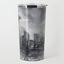 Seattle Skyline Painting Watercolor Black and White Space Needle Travel Mug