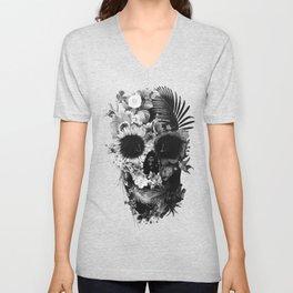 Garden Skull B&W Unisex V-Neck