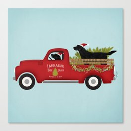 Black lab dog labrador christmas tree farm vintage red truck Canvas Print