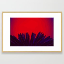 Blue coloured palm leafs on red background Framed Art Print
