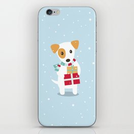 Cute Christmas dog holding a stack of gifts iPhone Skin