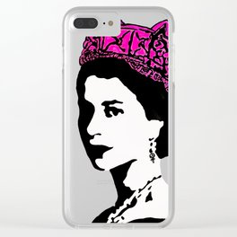 The Queen and the pink pussy hat Clear iPhone Case