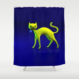 The Yellow Cat And Glass Blue Cherry Shower Curtain