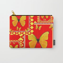YELLOW BUTTERFLIES RED-YELLOW  PATTERNED  ART Carry-All Pouch