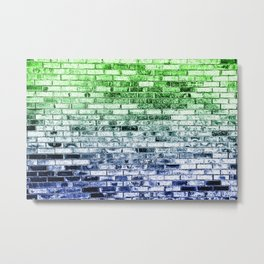 Colored Bricks - Green and Bllue Metal Print
