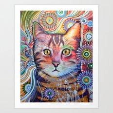 Olivia ... abstract cat art Art Print