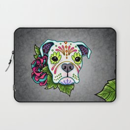 Boxer in White- Day of the Dead Sugar Skull Dog Laptop Sleeve