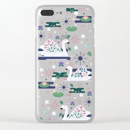 Swans on Stars Clear iPhone Case