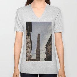 Two Towers, Bologna, Emilia Romagna, Italy, street photography, Torre degli Asinelli, italian city Unisex V-Neck