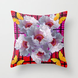 BUTTERFLIES MODERN WHITE TREE PEONY FLOWERS RED ART Throw Pillow