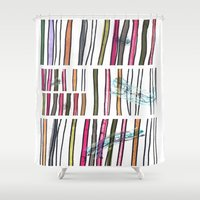 swimming Shower Curtains featuring Swimming by Lidia Ganhito