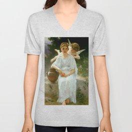 "William-Adolphe Bouguereau ""Les murmures de l'Amour (Whisperings of Love)"" Unisex V-Neck"