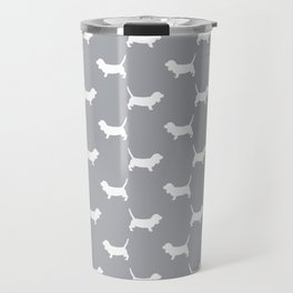 Basset Hound silhouette grey and white dog art dog breed pattern simple minimal Travel Mug