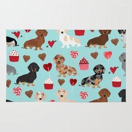 Dachsund dachsie doxie valentines day valentine hearts love cupcakes cute dog gifts Rug