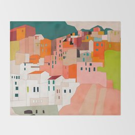 italy coast houses minimal abstract painting Throw Blanket
