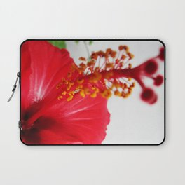 Red Hibiscus Flower Zoomed Laptop Sleeve
