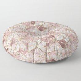 Modern rose gold geometric star flower pattern Floor Pillow