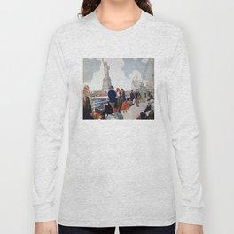 Vintage Immigrants & Statue of Liberty Illustration (1917) Long Sleeve T-shirt
