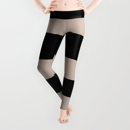 Rosy Mauve Pink, Blushing Bride, Cathedral Morning Hand Drawn Fat Horizontal Stripes on Black Leggings