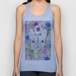 Abstract French bulldog floral watercolor paint Unisex Tanktop