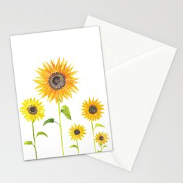 Sunflowers Watercolor Painting Stationery Cards