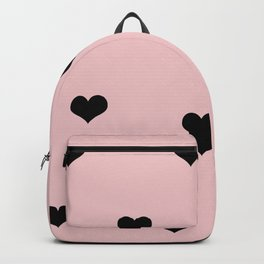 Modern heart pattern in pink and black Backpack