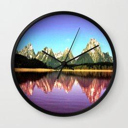 Grand Tetons 🌄 Purple Reflection Wall Clock