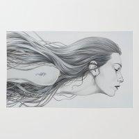 mermaid Area & Throw Rugs featuring Mermaid by Diego Fernandez