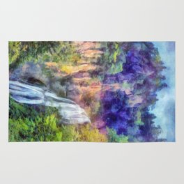 Mountain waterfall Rug
